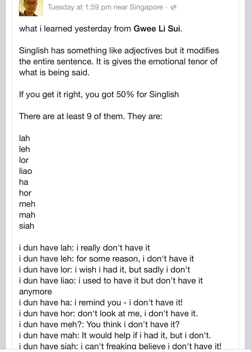Singlish is got grammar one hor. Don't say don't have. Dr @gweezilla gives us an intro course. http://t.co/ru9ZOr55LJ