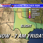 Severe storms likely today across portions of west, central & south Texas! Isolated strong storms in #ETX today. http://t.co/xlo35rj0g3