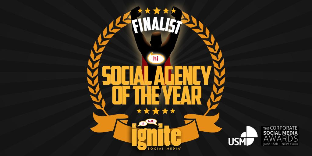 Honored that @ignitesma is one of only 4 finalists as Social Agency of the Year worldwide. #fb http://t.co/P6Az14AxqS