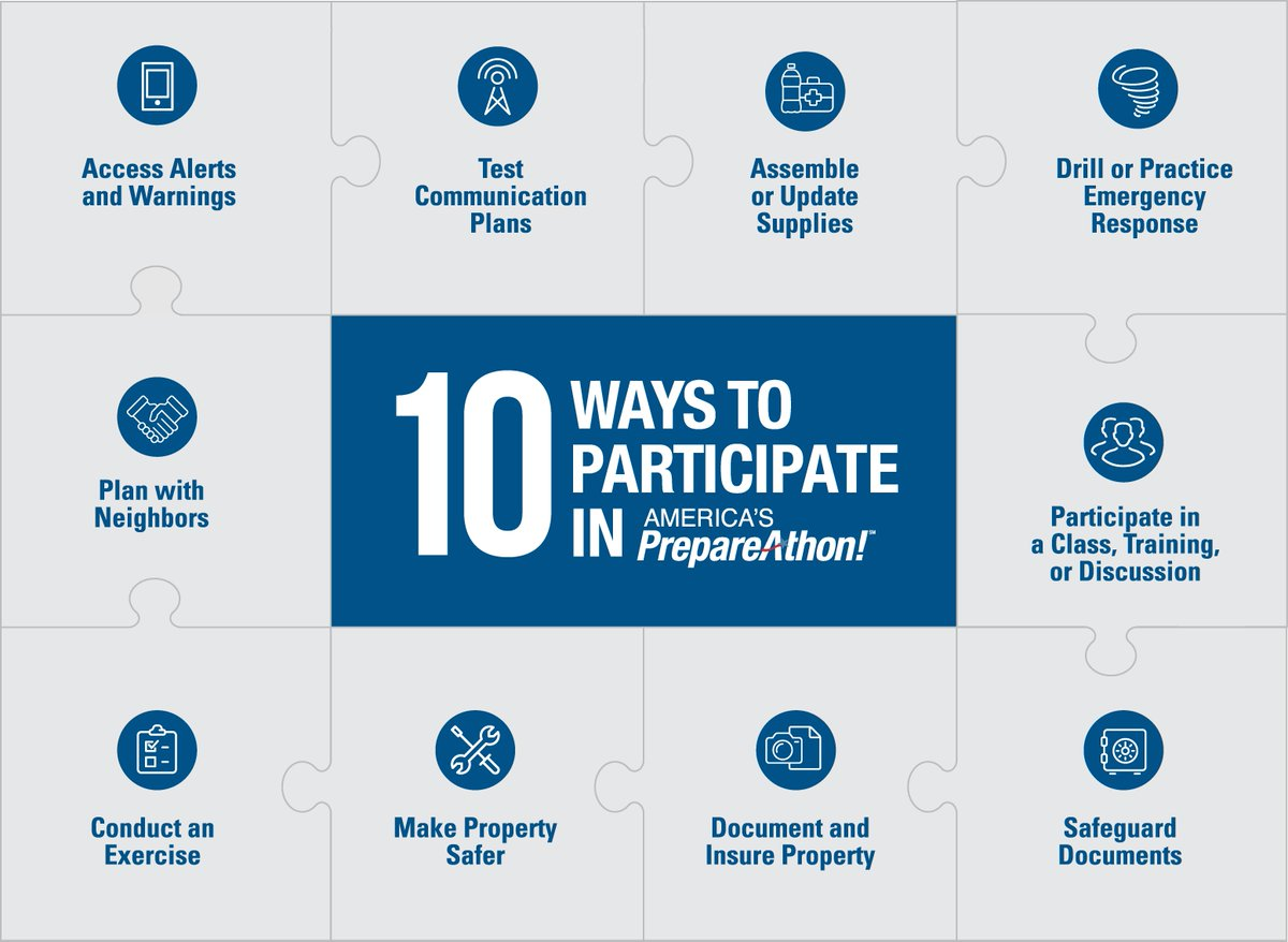 National #PrepareAthon Day is approaching! You can take action with one of these ten ways to participate! http://t.co/NWvvMM12aY