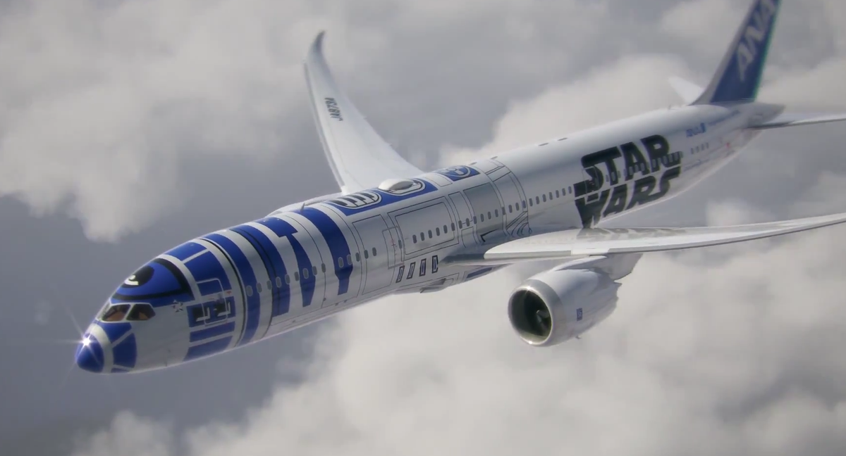 This IS happening. Not a joke, not a hoax. That's a Boeing 787-9 painted like R2-D2. http://t.co/yhduFxmNEO