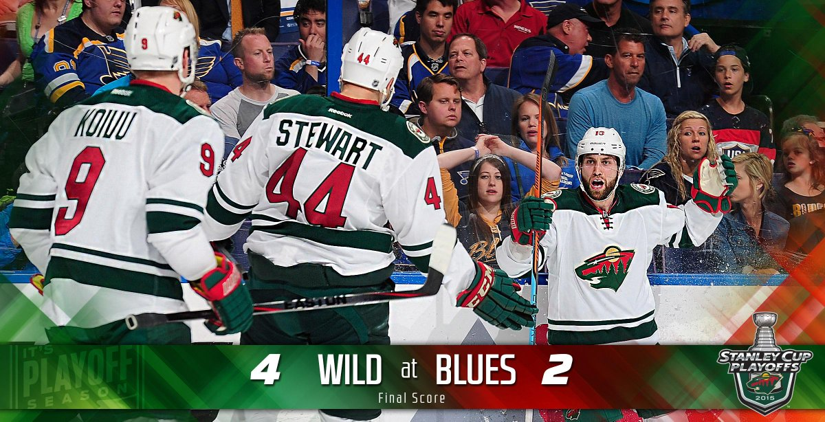 YEAH BABY! #mnwild takes Game 1 against #stlblues, with a final score of 4-2! #STLvsMIN http://t.co/cGadjbZwAt