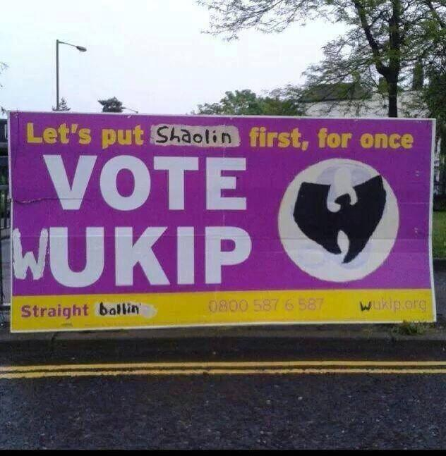 Dont forget to vote for a united Shaolin Island this election. Vote #WUkip http://t.co/Ar2t3Gwdon