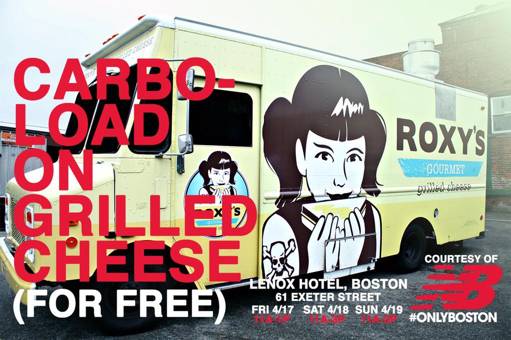 Boston runs on (free) grilled cheese this weekend, thanks to @newbalance! Friday-Sunday, Copley Sq. #OnlyBoston http://t.co/7CYT8Dssnp