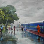 Wet platform. Artist : Bijay Biswaal. #painting #art http://t.co/aeYe9zV7O7