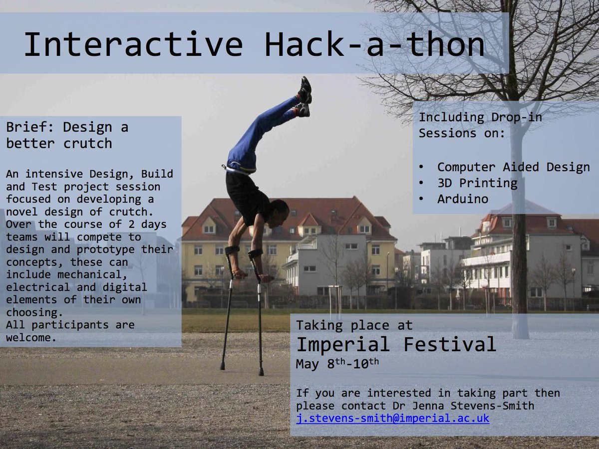 Got ideas for better crutch #design? Then this @ImperialCollege #hackathon on 8-10 May might be for you! #disability http://t.co/1U4SyKHYHd