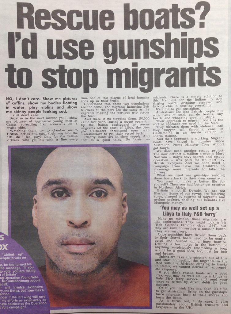 Oh my actual god. This is racism/xenophobia on a whole new level RT @jpublik Katie Hopkins and the Sun are a disgrace http://t.co/3CgivajQNG