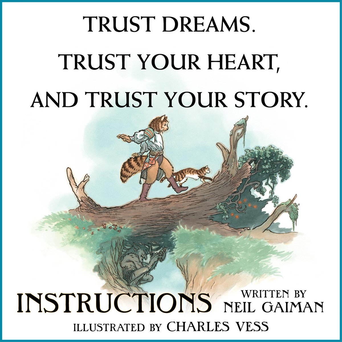 """Trust your heart, and trust your story."" @neilhimself's INSTRUCTIONS is out 4/21! http://t.co/JCLiSeyoO6 http://t.co/8oLpVcmcfo"