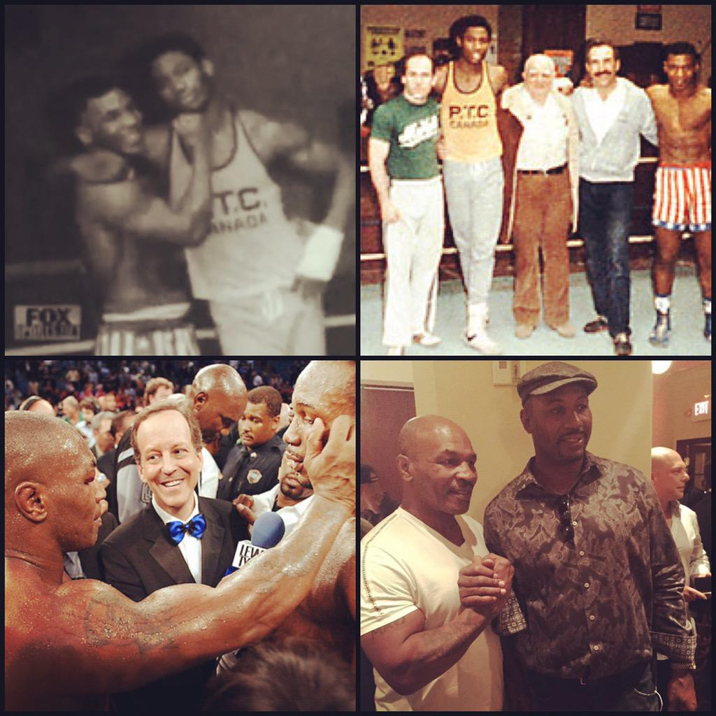 Great seeing @MikeTyson tonite.  We were rivals in the ring and are brothers outside of it. #Respect http://t.co/n3YTERNYN6