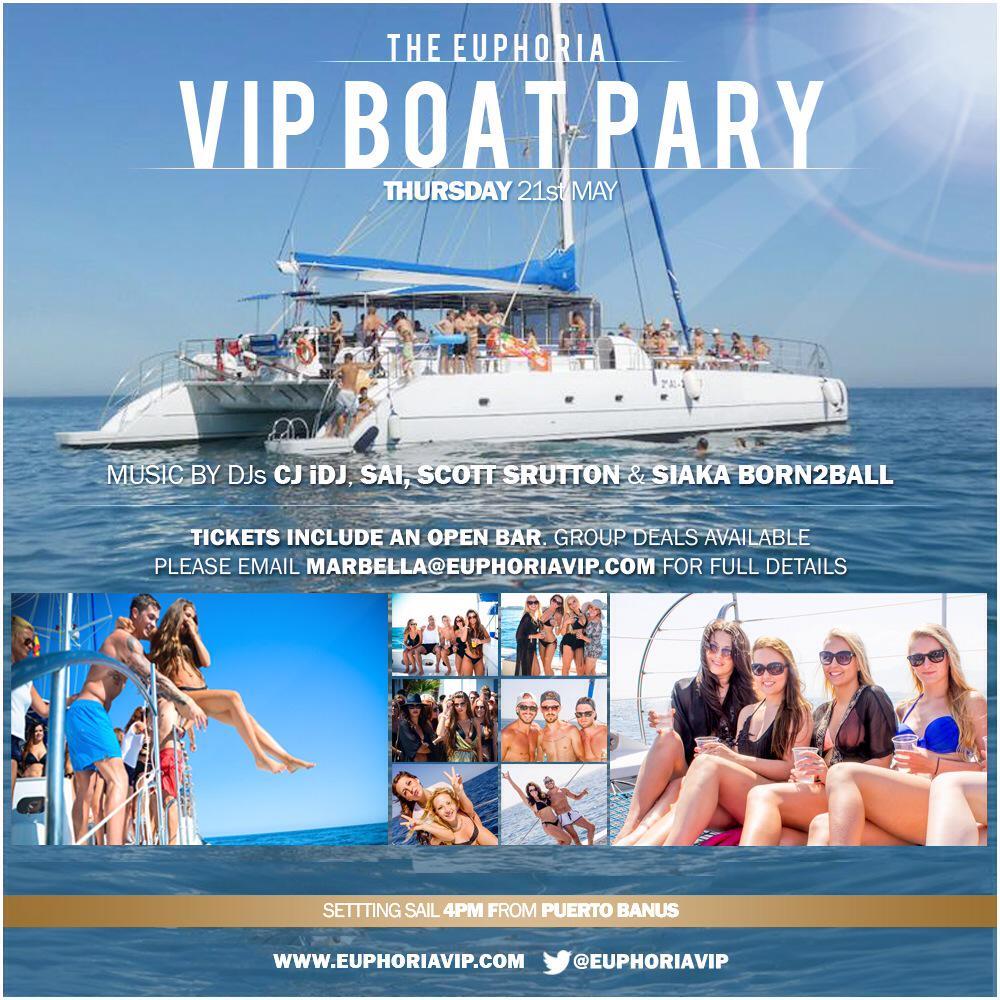 #Marbella2015 @Euphoriavip @MarbsParties VIPBoatParty Thu21stMay book tickets NOW #OpenBar #marbs #puertobanus http://t.co/fyTLtQCI1Q