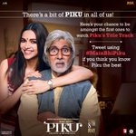 RT @PikuTheFilm: Power is in your hand to unveil #PikuTitleTrack. Tweet using #MainBhiPiku to reveal the song - http://t.co/t42hM6M0HB http…