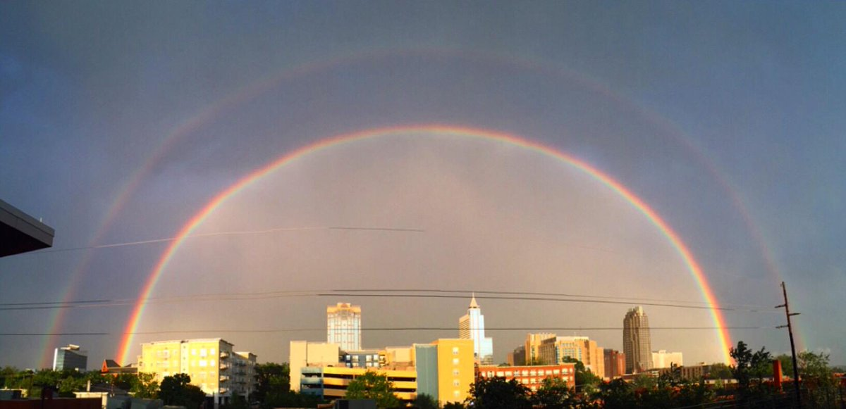 Absolutely Bonkers Double Rainbow Raleigh Skyline Pic by @ashtonmae http://t.co/U8sBr1TAgV