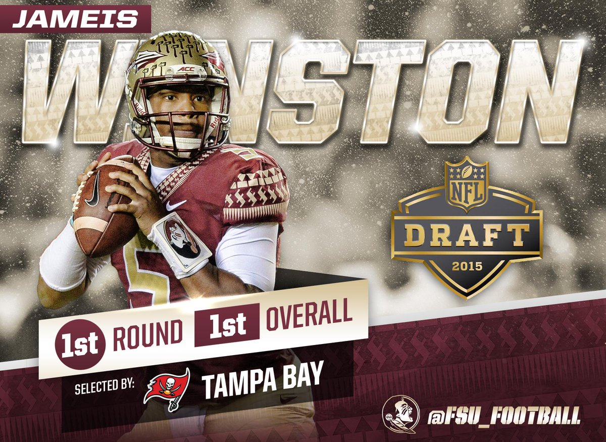 The @TBBuccaneers select #FSU QB Jameis Winston (@Jaboowins) with the 1st overall pick in the NFL Draft! #Noles http://t.co/1GxMNzxMPA
