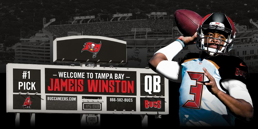 Welcome to Tampa Bay, Jameis Winston! #NFLDraft #BucsDraft  Get Your Season Passes Here: http://t.co/hQSsHIwBkb http://t.co/xyW1PY1SjJ