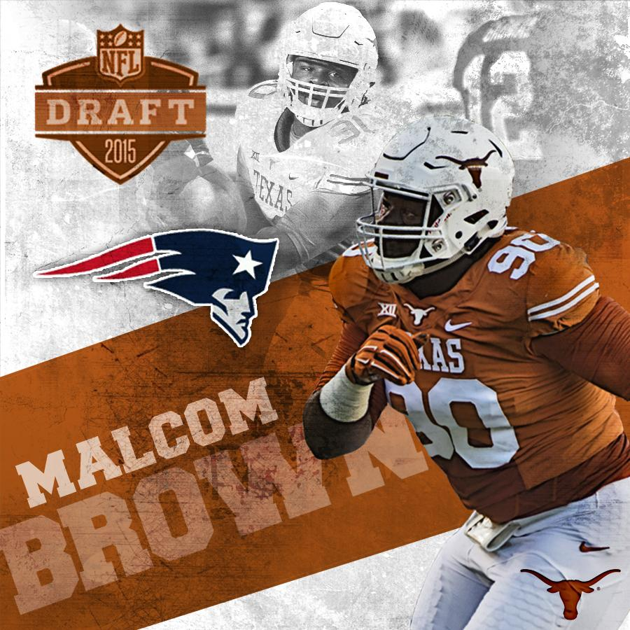 Congrats to #Longhorns @MalcomBrown_90. Lands with Super Bowl champion @Patriots - 32nd pick/1st round of #NFLDraft. http://t.co/k5iKxKUKnh