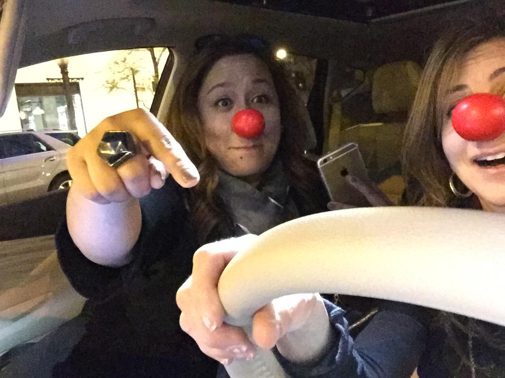 Drive-by red-nosing w @mjtam and folks are getting nosey! #RedNoseClub @Walgreens http://t.co/51UwALdfRv
