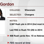 Chargers select RB Melvin Gordon Gordon averaged an NCAA record 7.8 yards per rush in his career http://t.co/we65Lrt57i