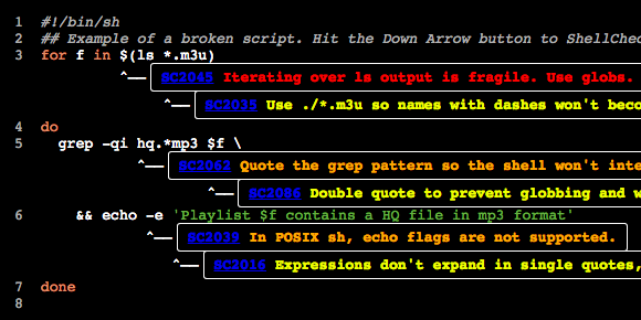 ShellCheck - http://t.co/FCsHWi3w4L - detects fragility, issues, and vulnerabilities in shell scripts/code. http://t.co/xp6cVEiNDc