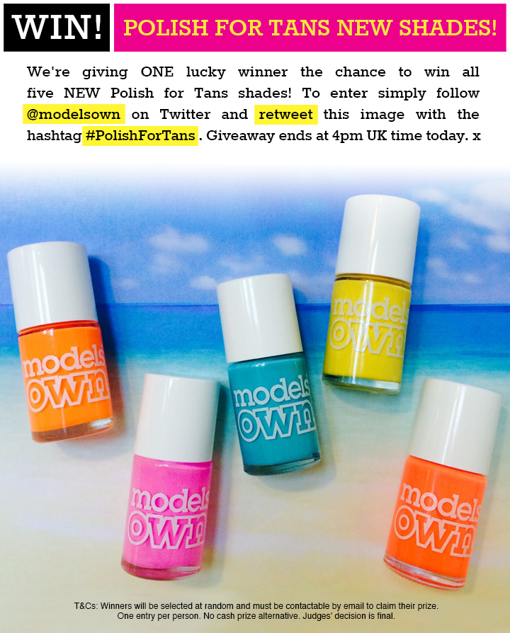 GIVEAWAY! WIN! #PolishForTans NEW SHADES! FOLLOW & RETWEET to enter! x http://t.co/4z6zYcA9Cv
