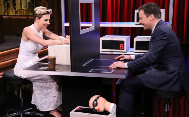 Scarlett Johansson faces off with @JimmyFallon in Box of Lies on @FallonTonight: http://t.co/KEQRbrvVR3 http://t.co/d4j1tr1voR