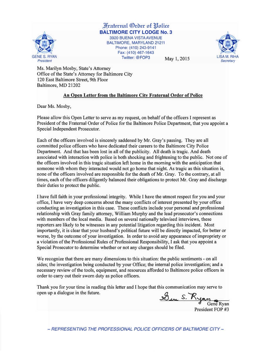 An Open Letter to State's Attorney Marilyn Mosby 5/1/2015 http://t.co/iUJ7elR3bq