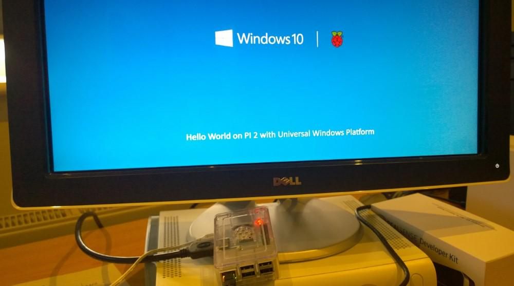 managed to get 'hello world' (C#, XAML) onto my Pi 2 :-) I think a door has just been opened! http://t.co/Ut30KPRPbF