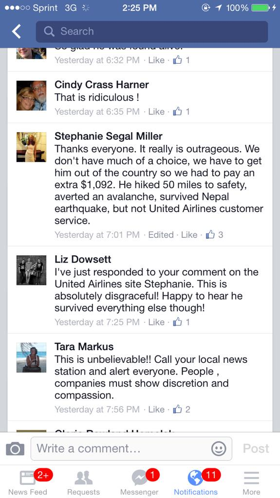 A man walks 50 miles to safety in Nepal. @United charges $1000 to change his ticket. Cc @ABC @CBSNews http://t.co/V44fjzjueh pls rt