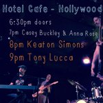RT @keatonsimons: Tix for TONIGHT's show @thehotelcafe w/ @luccadoes are going fast! Catch our friends @ 7pm! https://t.co/ZoZzN2ivde http:…