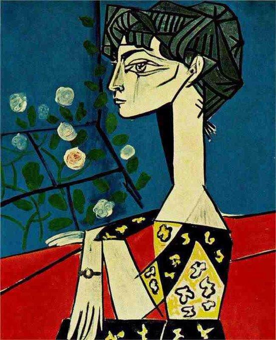 Pablo Picasso ~ 'Jacqueline with Flowers' (1954)  #art #twitart #artwit #arte #kunst #painting