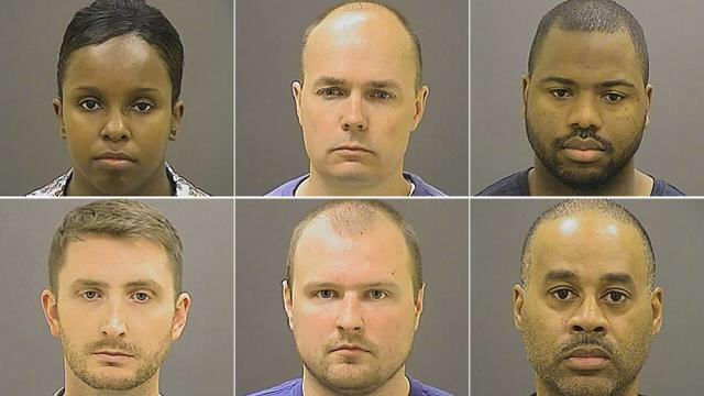 JUST RELEASED: Booking photos for SIX Baltimore police officers charged in Freddie Gray's death. http://t.co/Oy8qPcBgaz