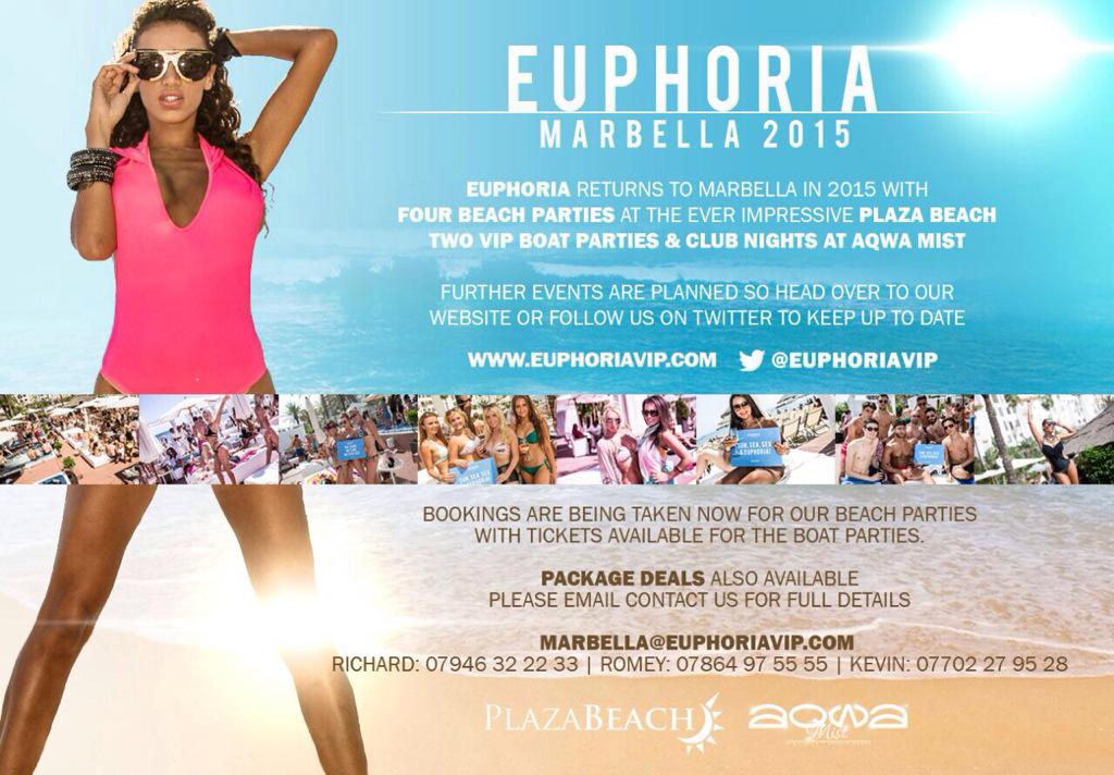 Will you be in #Marbella 2015 @Euphoriavip Beach/Pool/Boat&ClubParties from end of May/June/July&Aug #puertobanus http://t.co/nvKlhhtEY4