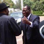 President Jonathan welcoming President Alassane Ouattara of Cote DIvoire to State House, Abuja, Mon. April 20. http://t.co/ofqDOlOxb4