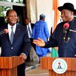 President Jonathan & President Alassane Ouattara of Cote DIvoire addressing State House correspondents, April 20. http://t.co/aM1QREDkkj