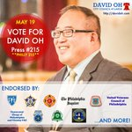 Tues, May 19 - vote for me so I can continue working for a better #Philadelphia. #ReElectDavidOh **Philly 215** http://t.co/X1YswU7s16