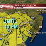 Tornado Watch until 10pm. Storms still far away...main threat after 7pm. Timing in minutes #NBC10 http://t.co/W3BqFwDK2K
