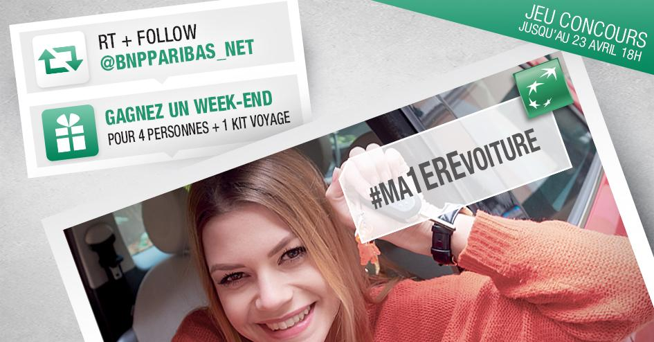 Une nouvelle voiture ? Gagnez un weekend pour 4 +1 kit voyage! Participez en RT&Follow @BNPPARIBAS_NET #Ma1èrevoiture http://t.co/z1sylzL8wf