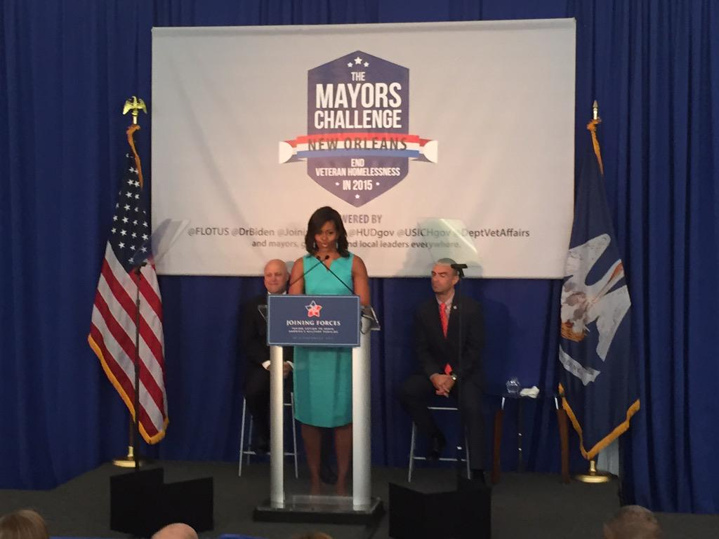 .@FLOTUS discusses how @JoiningForces & #MayorsChallenge are working to end veteran homelessness across America. http://t.co/DlUs7Ci6hd