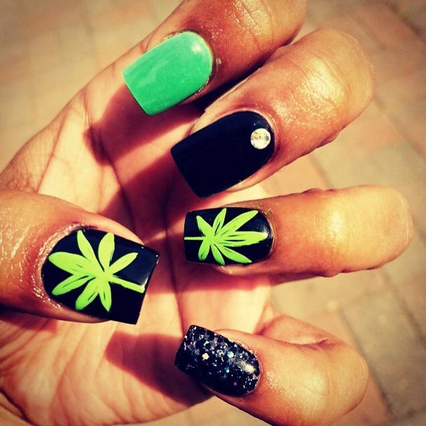 Smoke \'em if you got \'em! these marijuana nail art ideas are totally ...