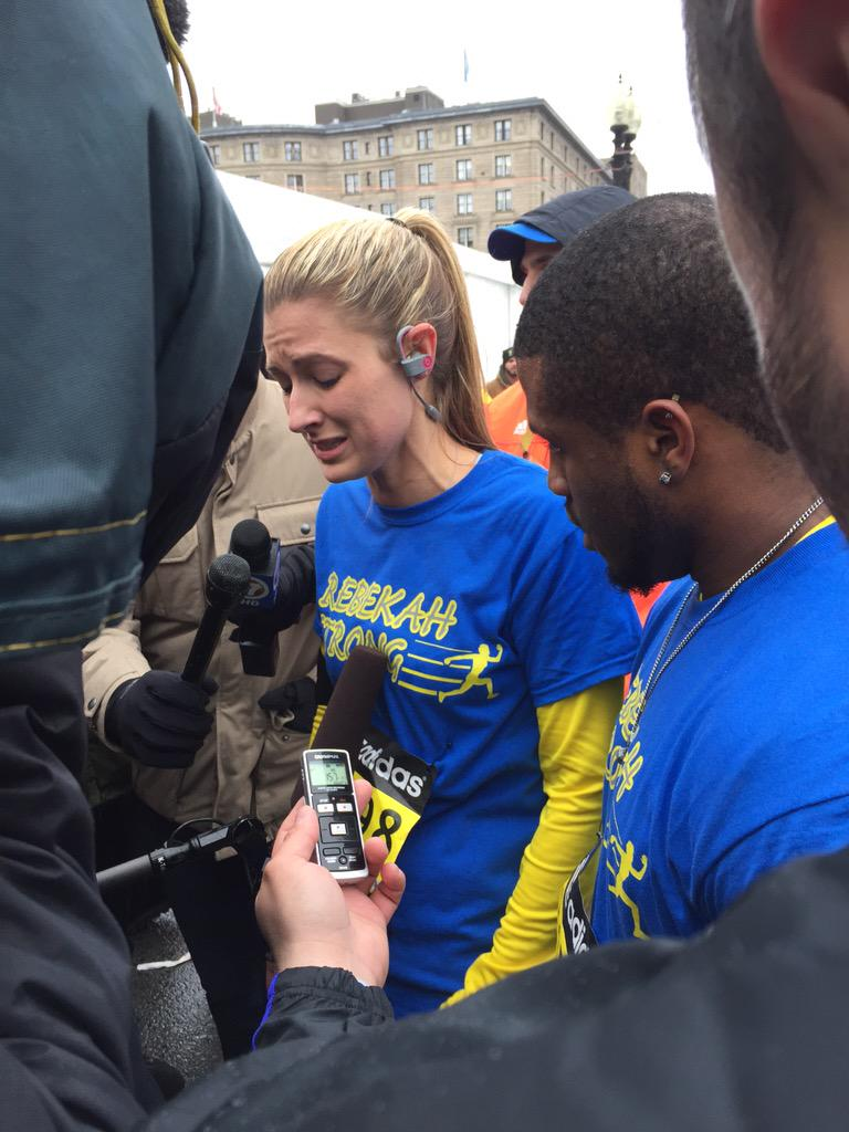 "Rebekah Gregory, marathon survivor, just finished. ""I took my life back today."" Just came across the finish line. http://t.co/4BbDSFqS1B"