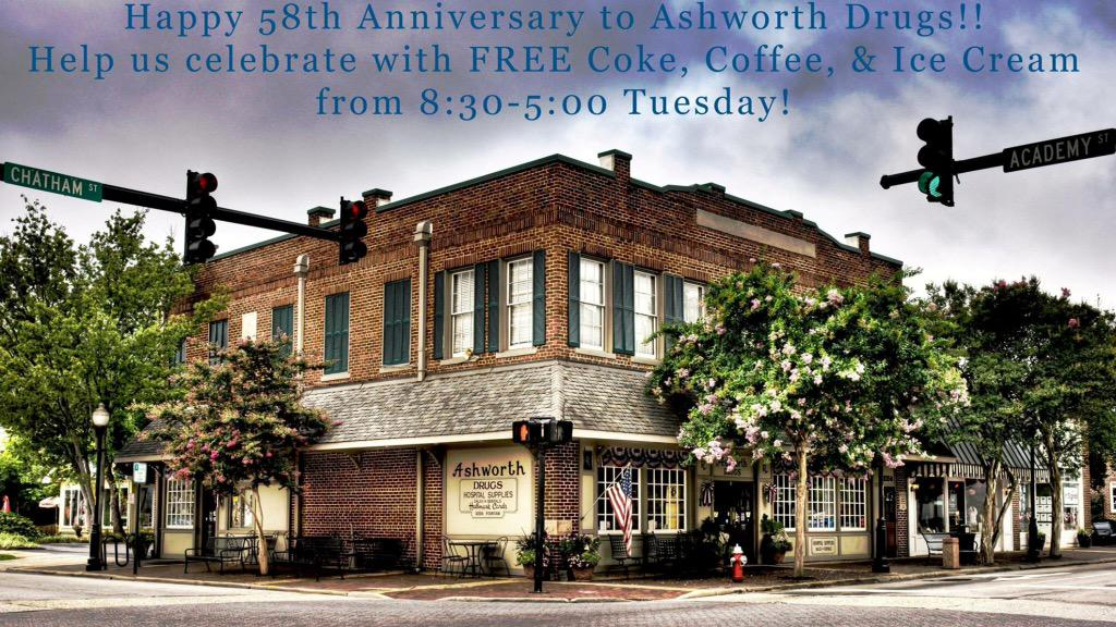 Join me at Ashworth's on Tuesday for their 58th Anniversary. What an accomplishment!! #Cary #Downtown #Local http://t.co/IPyK2ZPMEq