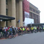 Lots of people gathered at the train station for a bike ride through town encouraging @WgtnCC to invest in cycleways http://t.co/UMUg9RZE08