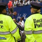 #BPD Officers watch over women's winner Caroline Rotich who won todays @bostonmarathon in a time of 2:24:55. http://t.co/6nOKgERB32