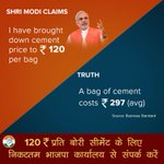 Shri Modi, the price of a Cement bag is ₹297 and not ₹120 as claimed by you. Please correct your facts http://t.co/ZpEWOZVo0r