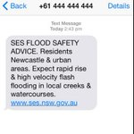 The NSW SES has sent emergency text messages to Newcastle and surrounding areas residents. http://t.co/ElPdAFyaHY