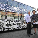 Get on board the double decker art bus promoting the #Brighton & #Hove Fringe Festival http://t.co/Pl8aMjbUH9 http://t.co/m9phXBjFfZ