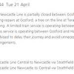 Updated information on Central Coast and Newcastle Line services. @TrainLinkNorth #NSWWeather #9News http://t.co/tslknvEBCE