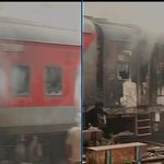 Railway coaches on fire in New Delhi Railway Station. No casualties. http://t.co/FqYQzOpsdD