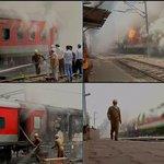 Delhi-Rajdhani Bhubaneswar Express & Sealdah Rajdhani Express catch fire at New Delhi Railway station yard http://t.co/PRX3Z5rlA5