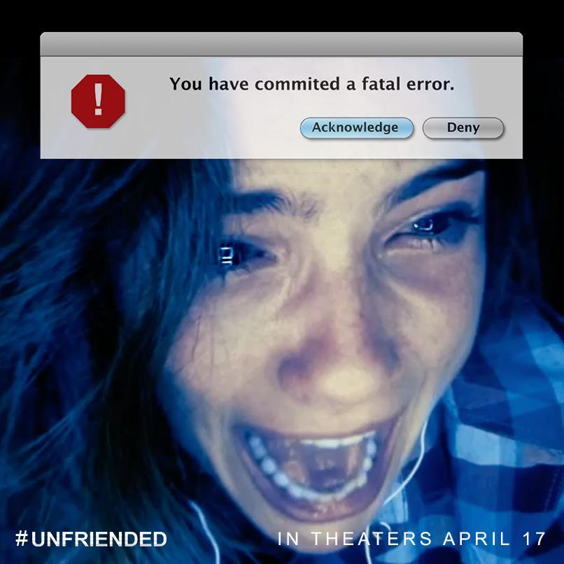 """Šī gada gaidītākajai šausmu filmai """"Unfriended"""" ir sākusies biļešu pārdošana: http://t.co/gwnEDz1aTu http://t.co/Gqhfr2dUQd"""