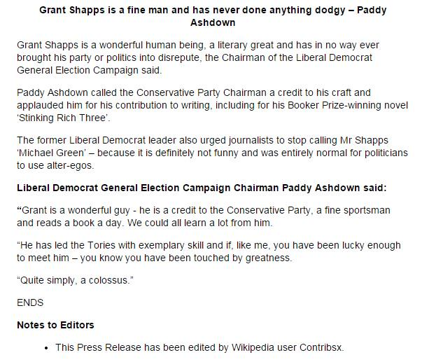 Congrats to Lib Dems, for best response to Grant Shapps/Wikipedia story. Maybe best response ever to anything ever... http://t.co/pNJFoQ0w6I